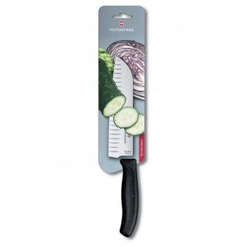 Нож сантоку victorinox swissclassic, рифлёное лезвие 17 см, чёрный, в карт