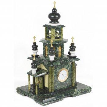 Часы храм малый змеевик мрамор 300х220х450 мм