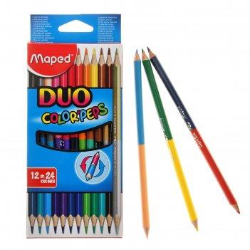 Карандаши двухцветные maped сolor peps, трёхгранные, 24 цвета - 12 штук, е