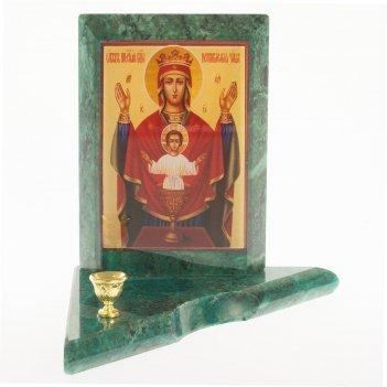 Икона с подсвечником неупиваемая чаша малая змеевик 95х95х100 мм 350 гр.