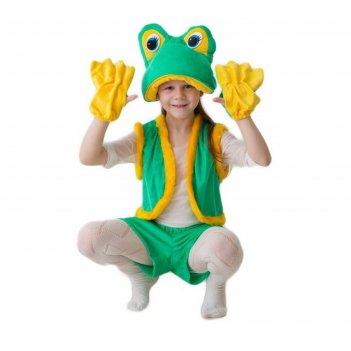 Карнавальный костюм лягушка-квакушка, шапка, жилет, шорты, перчатки, 5-7 л