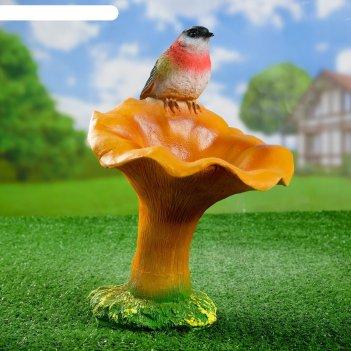 Садовая фигура гриб рыжик с птичкой 20*22*32 см