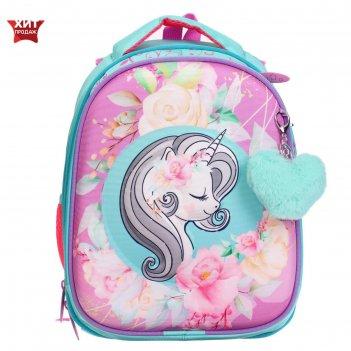 Рюкзак каркасный luris 38 х 28 х 18 джерри 4 3d, для девочки единорог, роз