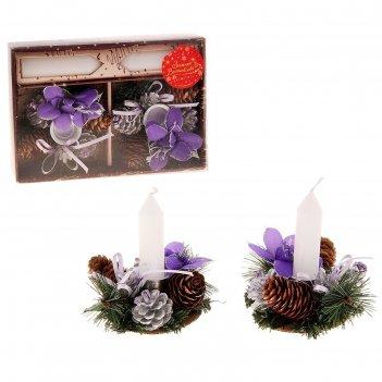 Подсвечник бантики с свечей фиолет 14*20 см
