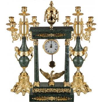 Набор:часы+2 подсвечника (кварцевые) высота=70/52 см.диаметр циферблата 10
