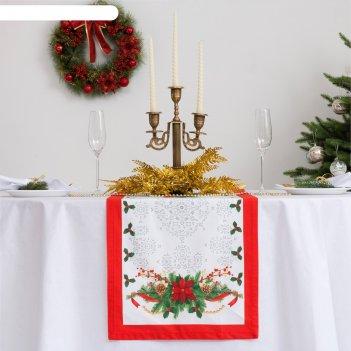 Дорожка на стол этель рождественский балл 40х147 см, 100% хл, саржа 190 гр