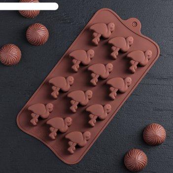 Форма для льда и шоколада 12 ячеек 20x10,5x1,5 см фламинго
