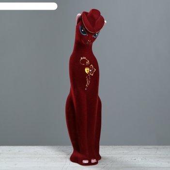 Копилка багира в шляпе флок, маленькая, бордовая