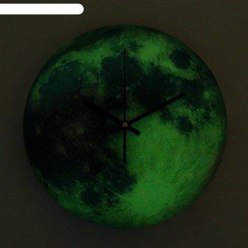 Часы настенные, серия: интерьер, луна, зеленые, светятся в темноте, d=30 с