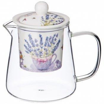 Чайник стеклянный с ситом прованс лаванда 400мл (кор=24шт.)