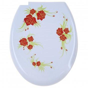 Сиденье для унитаза роза, снежно-белое