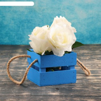 Ящик реечный, ручка- шнур, голубой, 11х12х9см