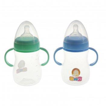 Бутылочка пластик приталенная, соска силикон, 300 мл, цвета микс