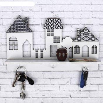Ключница с полкой домики