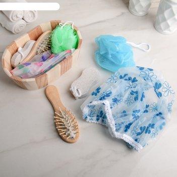 Набор банный, 4 предмета: расчёска, мочалка, пемза, шапочка для душа, цвет
