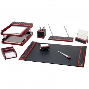 Набор настольный delucci 8 предметов, красное дерево, вставки под черную к