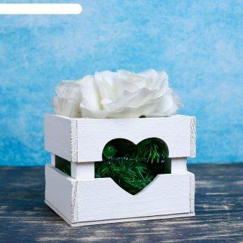 Ящик-кашпо сердце, сердний, белое, 11х12х9см