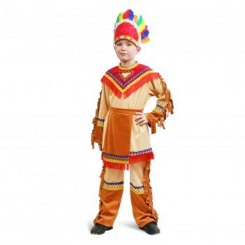 Карнавальный костюм индеец для мальчика, куртка, брюки, фартук, головной у