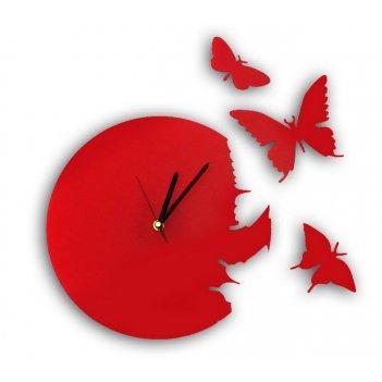 Часы порхающие бабочки красные  cl104кр 28х28см