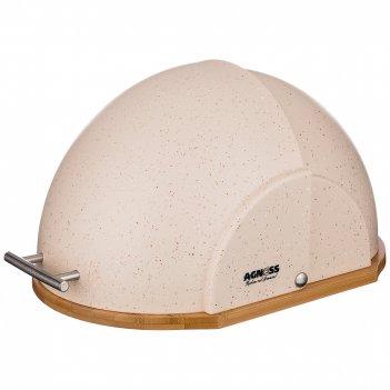 Хлебница agness деревянная  с пластиковой крышкой, цвет бежевый мрамор 36*