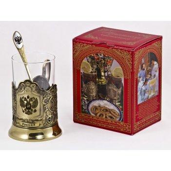 Набор для чая россия (3 пр.) арт. пд-77кс(герб)-л