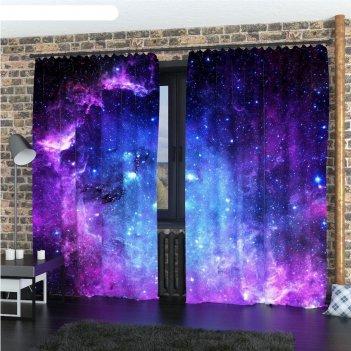 Фотошторы «фиолетовое звёздное небо», размер 145 x 260 см, габардин