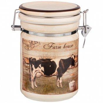 Банка для сыпучих продуктов с клипсой коллекция farm house1000 мл 12*12*17