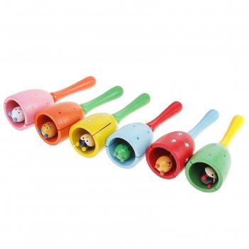 Игрушка музыкальная колотушка колокольчик, цвета микс