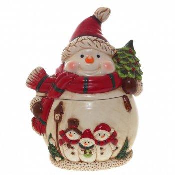 Конфетница снеговик в красном шарфе, l16,5 w14,5 h22 см