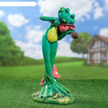 Садовая фигура лягушка скрипач 44 см