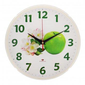 Часы настенные зелёное яблоко, рубин, 25х25 см