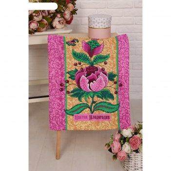 Полотенце вафельное дерево изобилия 503-3 рис.2 (пакет) 45х60см, розовый,