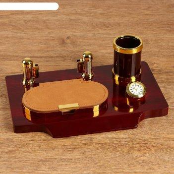 Набор настольный 4в1 (блок д/бумаг, карандашница, часы, визитница)