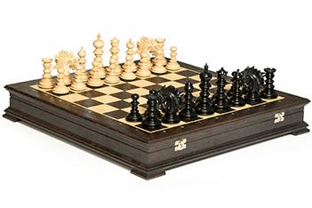 Эксклюзивные резные шахматы савано венера, самшит, эбен 50см