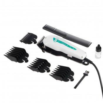 Машинка для стрижки htc ct-7109, 4 насадки 3/6/9/12 мм, шнур 2.5 м, белая