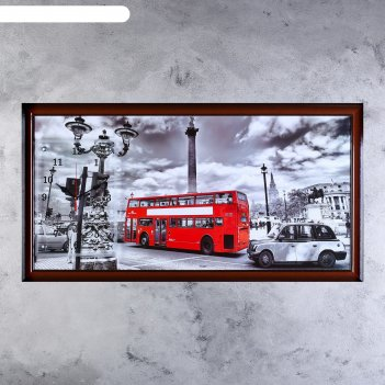 Часы-картина настенные лондонский даблдекер, 50х100 см