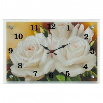 Часы настенные прямоугольные цветы, 25х35 см