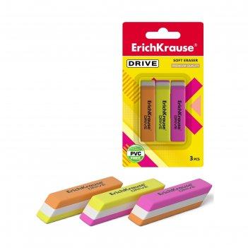 Набор ластиков 3 штуки erich krause drive, 57 х 15 х 13 мм, мягкие, гипоал