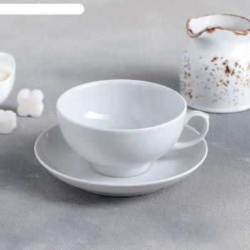 Чашка чайная с блюдцем 220 мл рубин, цвет белый