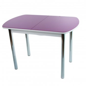 Стол раздвижной эллин белое/фиолетовое/хром прямые