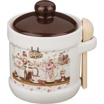 Сахарница coffee 13*11*12 см. 300 мл. с ложкой (кор=36шт.)