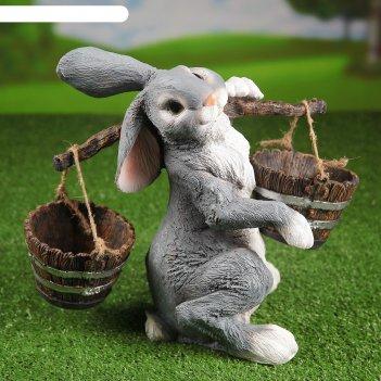 Садовая фигура заяц с коромыслом h-35см