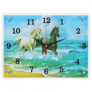 Часы настенные, серия: животный мир, лошади в море, 30х40  см, микс