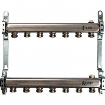 Коллектор stout, нержавеющая сталь для радиаторной разводки 7 выходов
