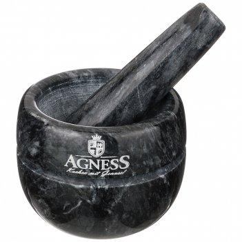 Ступка agness с пестиком диаметр=9 см высота=7 см (кор=6набор.)