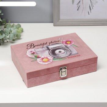 Шкатулка дерево фотоаппарат с цветами бархат 5,5х17х24 см