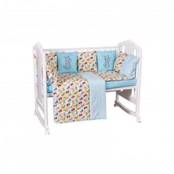 Комплект в кроватку «собачки», 5 предметов, цвет бирюзовый