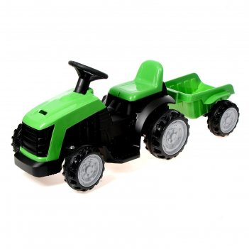Электромобиль трактор, с прицепом, цвет зеленый