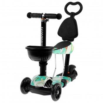 Самокат-каталка детский scooter 5 в 1, цвет бирюзовый
