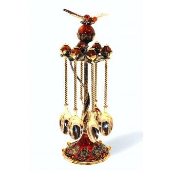 Набор серебряных ложек чайных стрекоза с янтарем